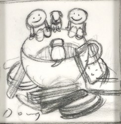 Tea and Biscuits Sketch by Doug Hyde - Original Drawing on Mounted Paper sized 3x3 inches. Available from Whitewall Galleries