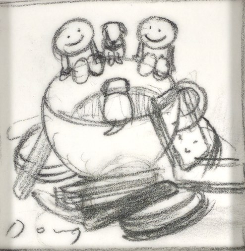 Tea and Biscuits Sketch by Doug Hyde - Original Drawing on Mounted Paper